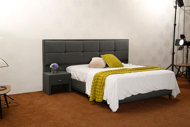 China Full Size Linen Fabric Headboard Solid Wood Frame Bed Base Customized Service supplier