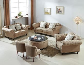 China Modern Grey Fabric Chesterfield Sofa , Soft Leather Chesterfield Sofa supplier