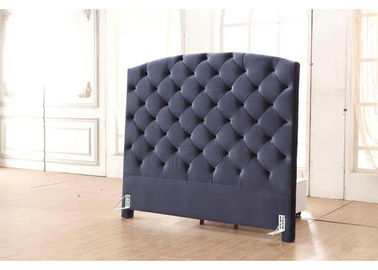 Black Linen Fabric Headboard With Buttons , Queen Size Bed Headboard