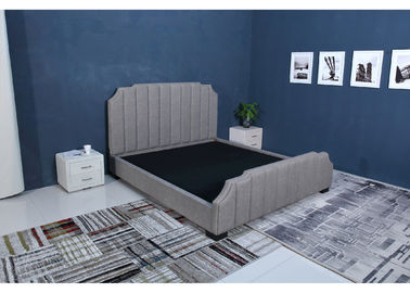China High End Velvet Fabric Bed , Grey Crushed Velvet Bed Simple Design factory