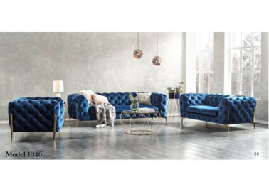 China Modern Velvet Chesterfield Sofa With Copper Leg SGS Certification factory