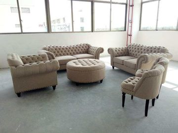 China Small Fabric Chesterfield Sofa , Grey Fabric Chesterfield Sofa OEM Service factory