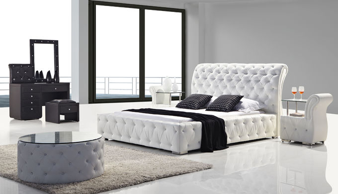 Upholstered Italian King Size Bed With Diamomds Customized Service