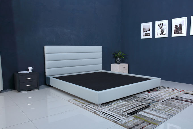 Linen Modern Italian Leather Bed / Italian Small Double Bed OEM Service