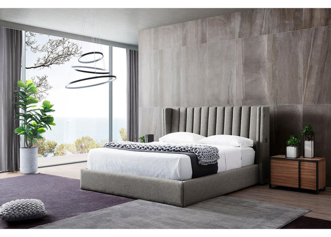 5 Star Hotel Grey Velvet King Size Bed With USB Connection High Density