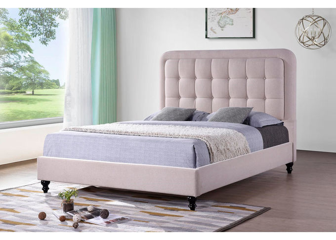Student Linen Queen Bed Solid Wood Frame High Density Sponge OEM Service
